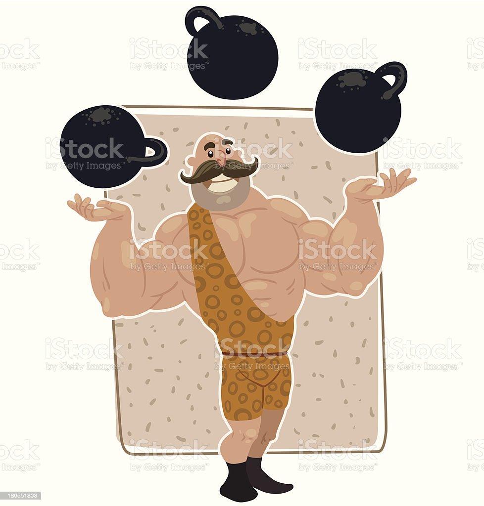 Retro athlete juggles kettlebells vector art illustration