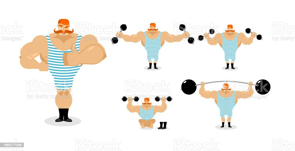 Retro athlete set poses. Ancient bodybuilder with red mustache emotions. Sportsman in striped suit, and good evil. Sad and happy Strong circus performer. Aggressive and surprised vector art illustration