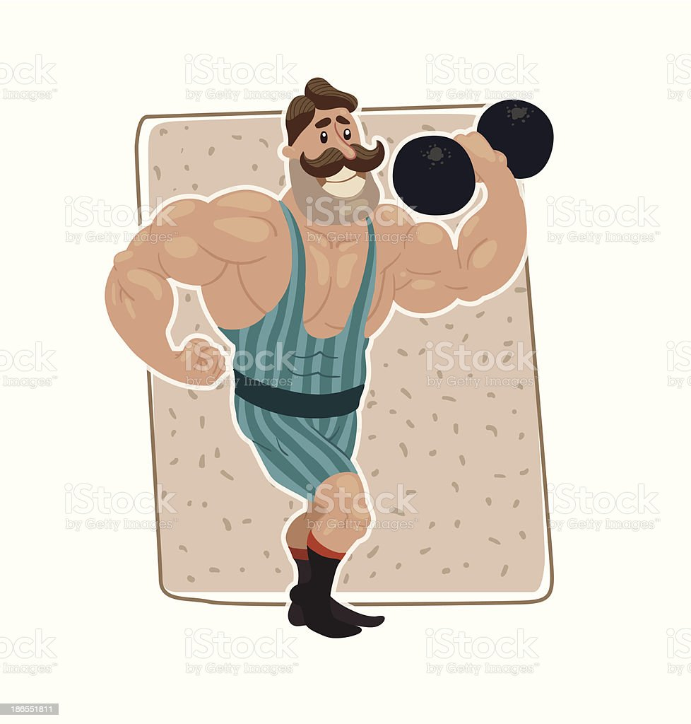 Retro athlete with dumbbell vector art illustration
