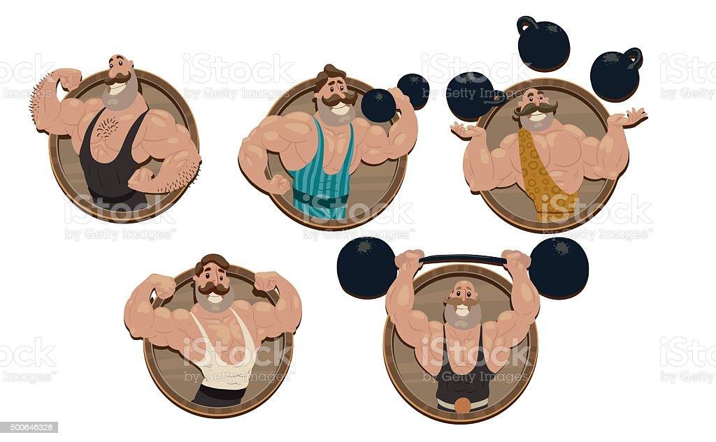 Retro athletes emblems set vector art illustration