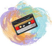 Drawing of Retro Audio Cassette . Elements are grouped.contains eps10 and high resolution jpeg.