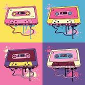 Retro Pink Audio cassette tape.  Oldschool Vector illustration.