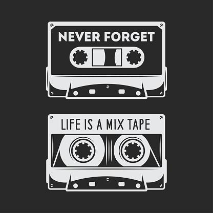 Retro audio cassette t-shirt design. Vector vintage illustration.