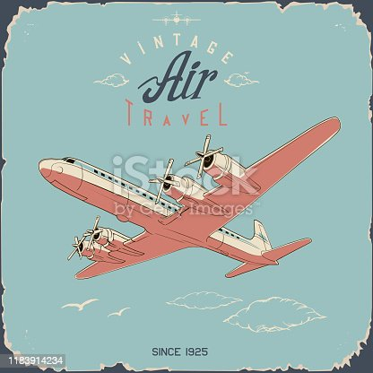 retro aviation travel poster and sign in simple colors vintage blue and pink