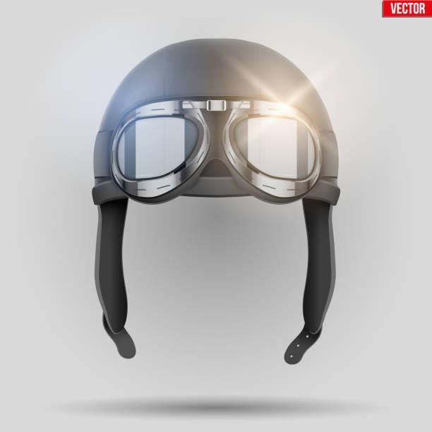 retro aviator helm mit brille - sportschutzhelm stock-grafiken, -clipart, -cartoons und -symbole