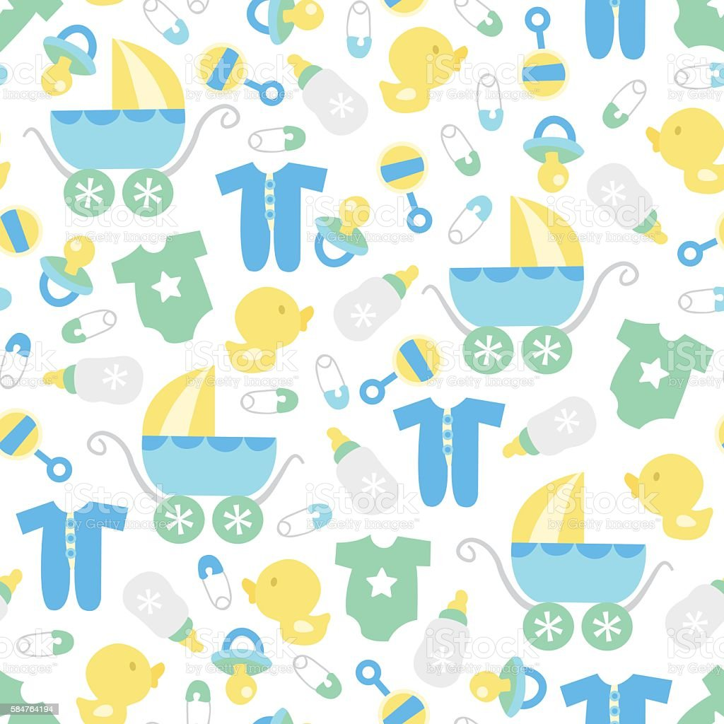 Retro baby boy seamless pattern background stock vector - Baby background ...