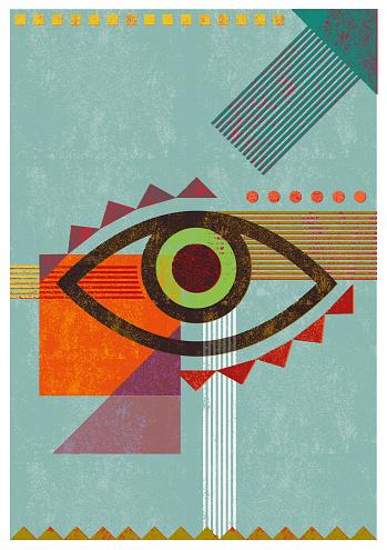 Retro background eye illustration
