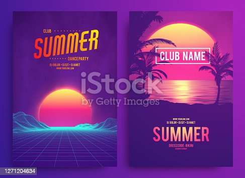 istock Retro background futuristic landscape 1980s style. Cocktail party, Electronic music fest, electro summer poster. Abstract gradients music background. EPS 10 Vector illustration. Vibrant design. 1271204634