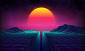 Retro background futuristic landscape 1980s style. Digital retro landscape cyber surface. 80s party background . Retro 80s fashion Sci-Fi Background Summer Landscape.