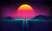 Retro background futuristic landscape 1980s style. Digital retro landscape cyber surface. 80s party background . Retro 80s fashion Sci-Fi Background Summer Landscape