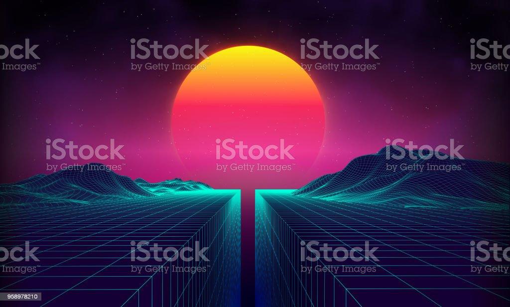 Retro background futuristic landscape 1980s style. Digital retro landscape cyber surface. 80s party background . Retro 80s fashion Sci-Fi Background Summer Landscape vector art illustration