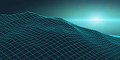 Retro background futuristic landscape 1980s style. Digital retro landscape cyber surface. Retro music album cover template : sun, space, mountains . 80s Retro Sci-Fi Background Summer Landscape