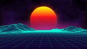 Retro background futuristic landscape 1980s style. Digital retro landscape cyber surface. Retro music album cover template : sun, space, mountains . 80s Retro Sci-Fi Background Summer Landscape