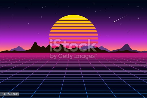 Retro background futuristic landscape 1980s style. Digital retro landscape cyber surface. Retro music album cover template sun, space, mountains . Vector illustration