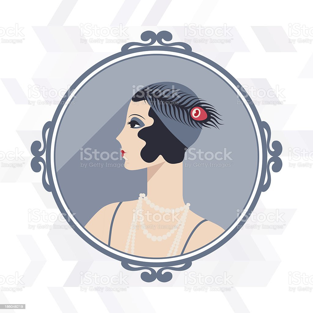 Retro background with beautiful girl of 1920s style. royalty-free stock vector art