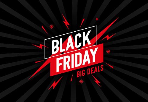 Ретро Фон С Дизайном И Текстом Черная Пятница — стоковая векторная графика и другие изображения на тему Black Friday