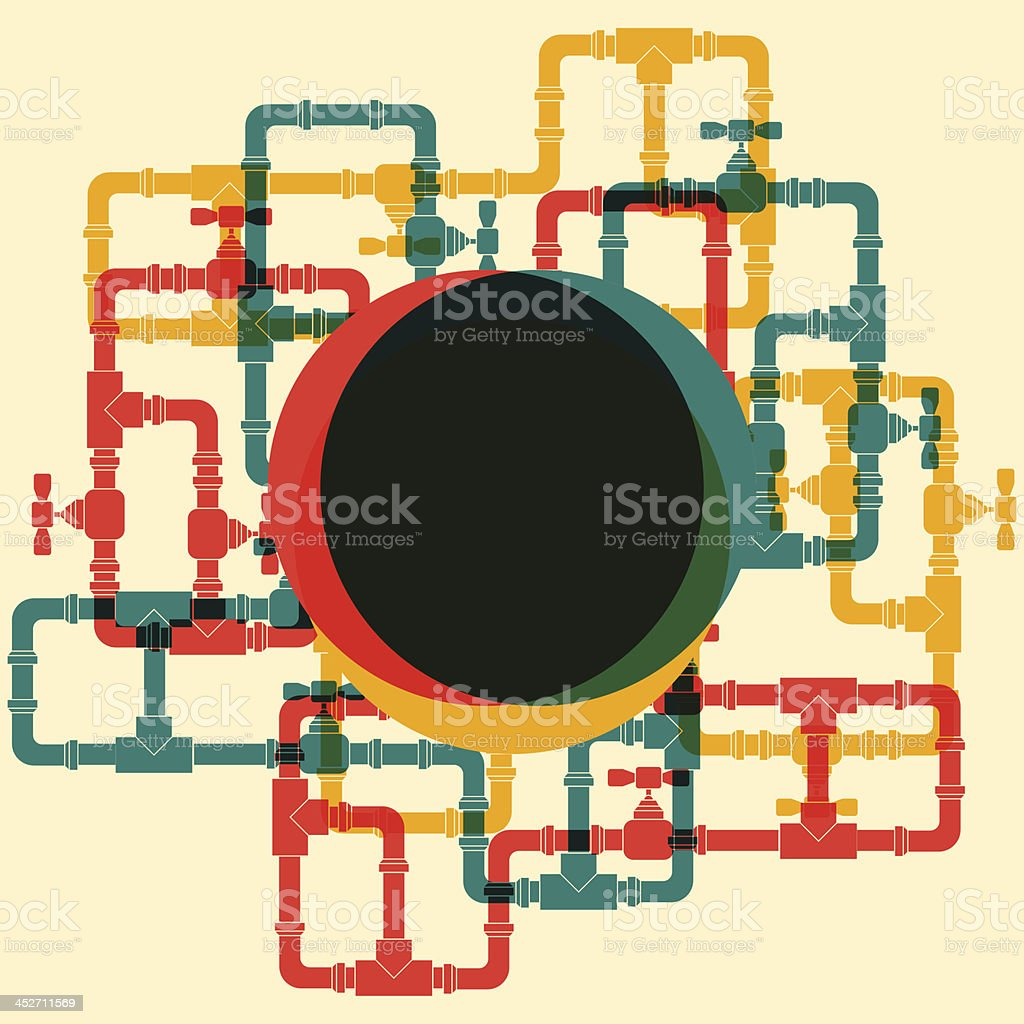 A retro background with linked up water pipes vector art illustration