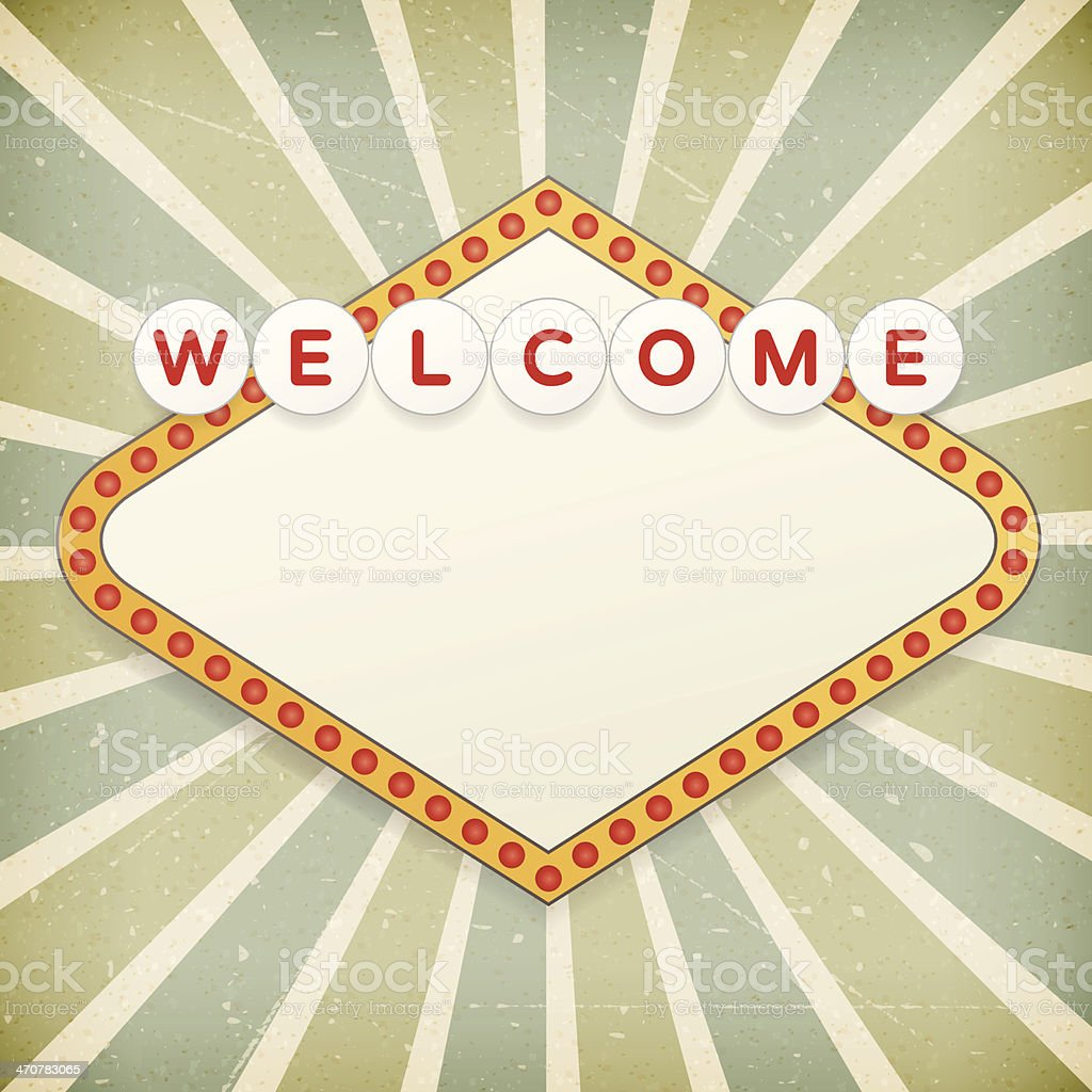 Retro background with promotional message. Welcome to... vector art illustration