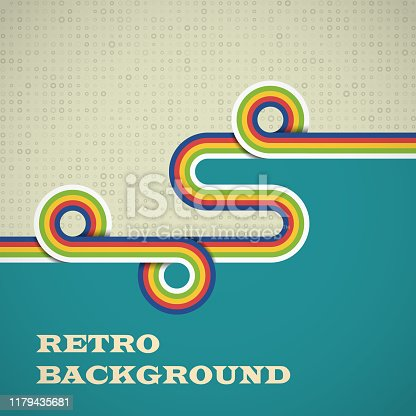 Retro background with rounded strips in bright color. Vector illustration EPS10.