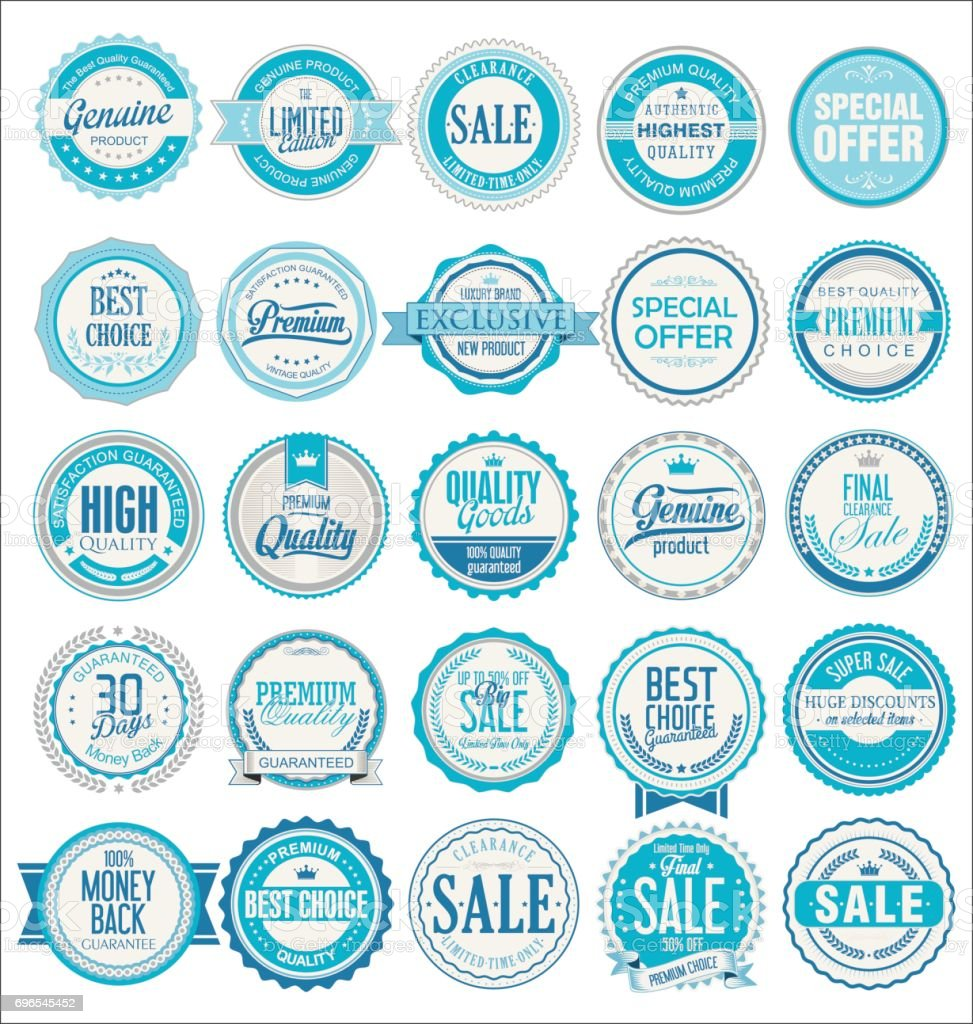 Retro badges and labels collection vector art illustration