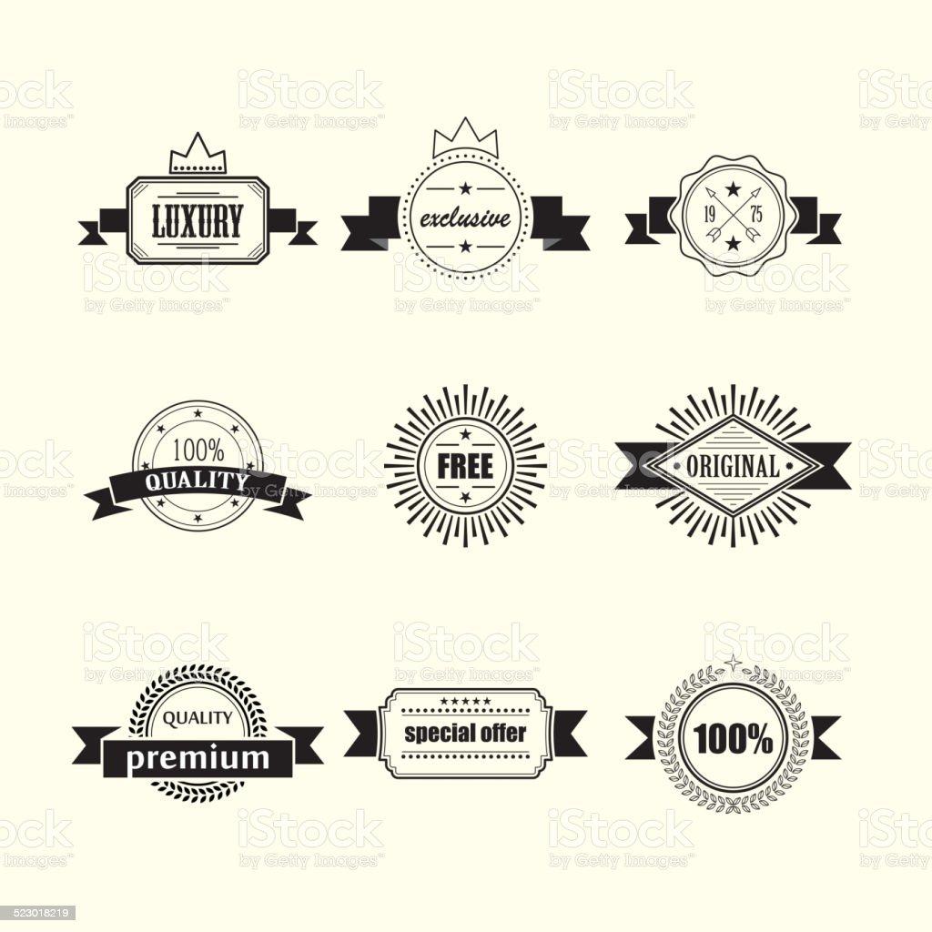 retro badges and labels vector art illustration
