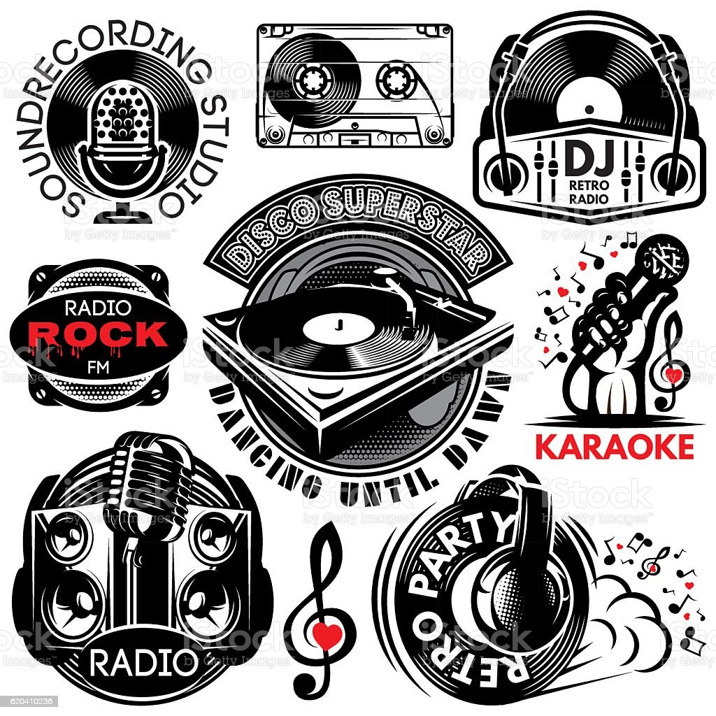 retro badges for karaoke, disco, party, radio, singing vector art illustration