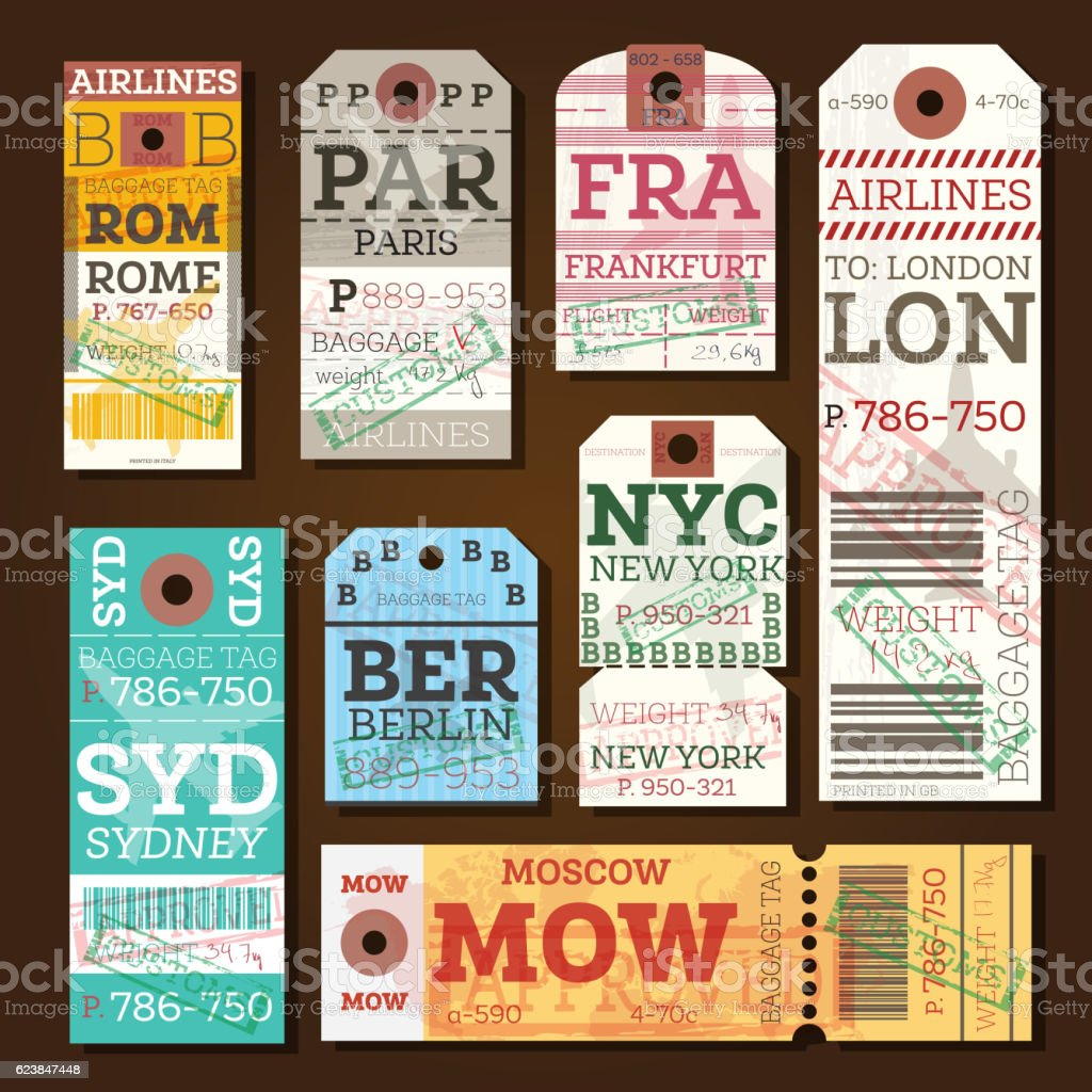 Retro Baggage Tags. - Illustration vectorielle