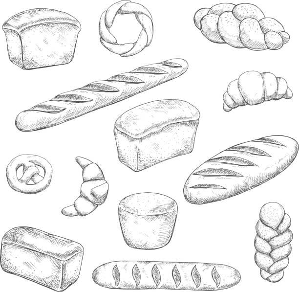 レトロなパンやペストリーのスケッチ - フランス料理点のイラスト素材/クリップアート素材/マンガ素材/アイコン素材