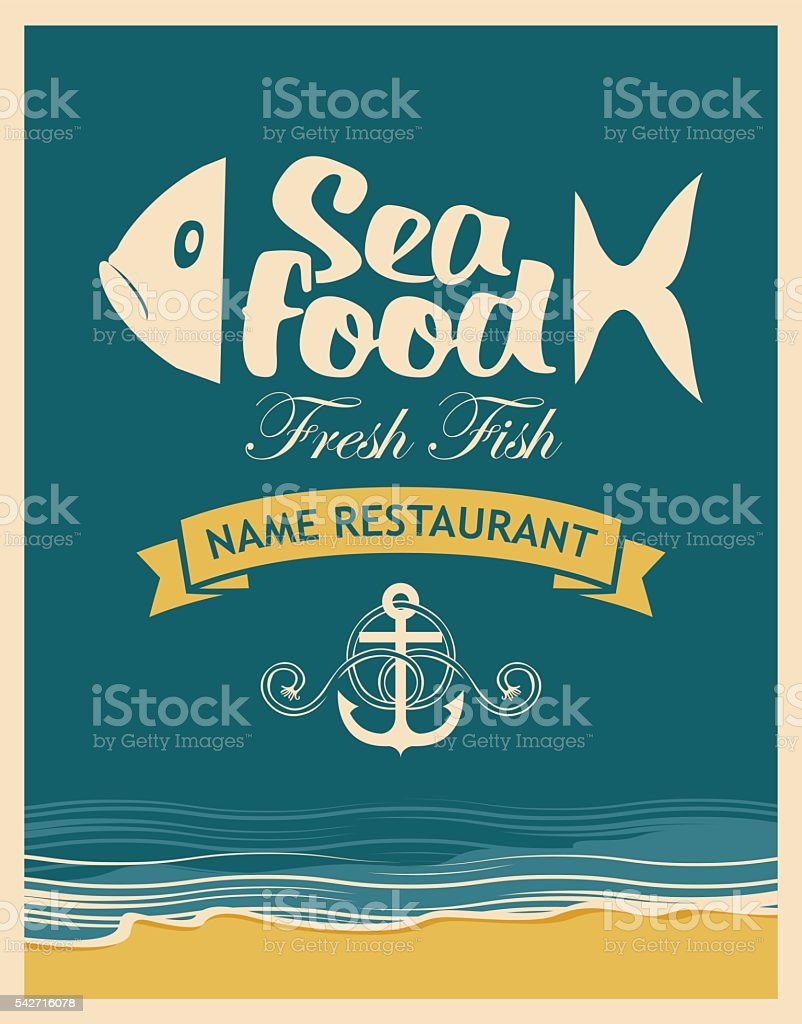 Retro banner for seafood restaurant vector art illustration