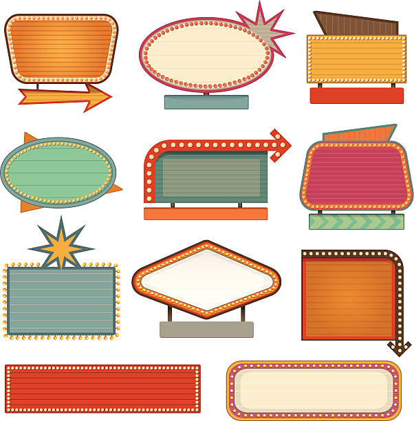 retro banner sign - 1950s style stock illustrations, clip art, cartoons, & icons