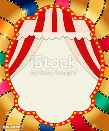 931079952 istock photo Retro banner with curtain on colorful shining background 1007238958