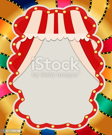 931079952 istock photo Retro banner with curtain on colorful shining background 1007239296