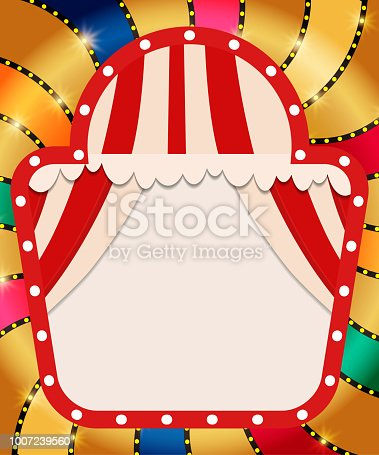 931079952 istock photo Retro banner with curtain on colorful shining background 1007239560