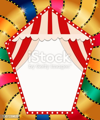 931079952 istock photo Retro banner with curtain on colorful shining background 1007239820