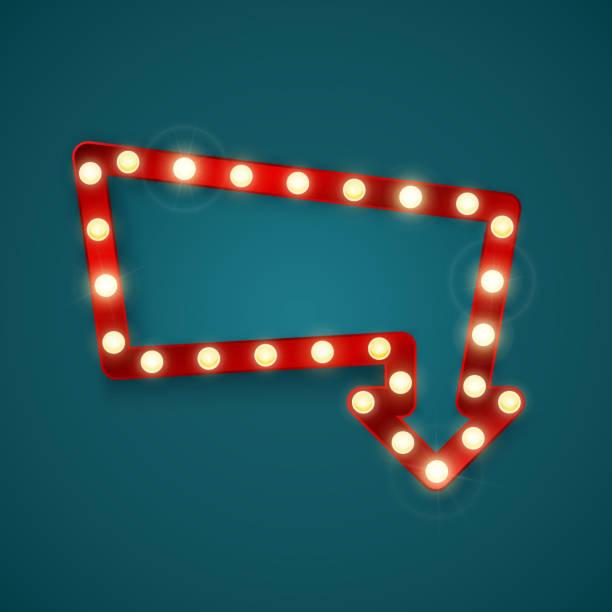 retro-banner mit leuchtenden lichtern. vintage plakatwand oder helle beschilderung. leuchtendes pfeilbanner. vektorabbildung - lampenshop stock-grafiken, -clipart, -cartoons und -symbole