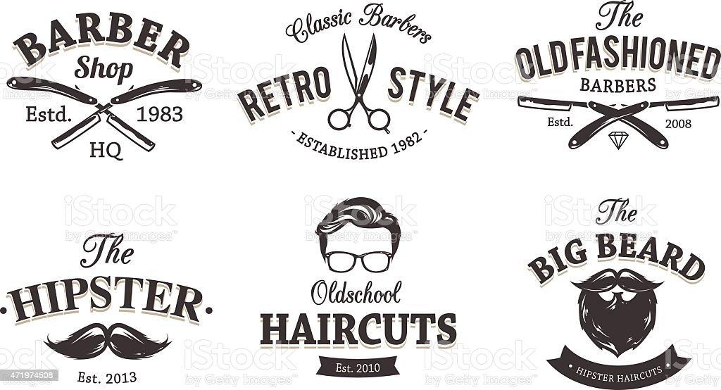 Retro Barber Emblems vector art illustration