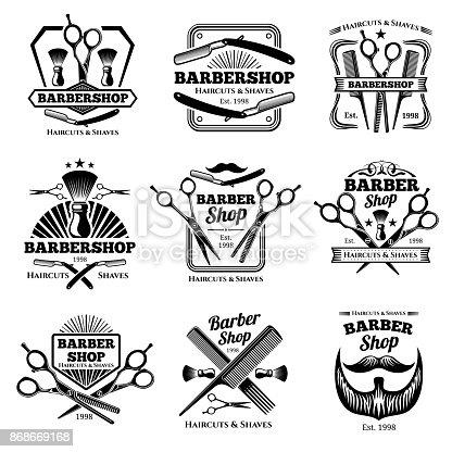 Retro barber shop vector badges. Modern haircut salon labels and hairdresser emblems