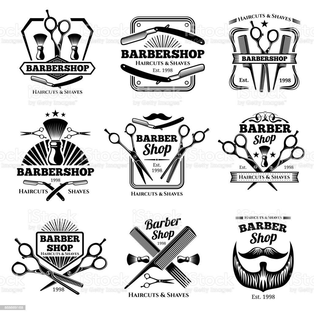 Insignias de vector de peluquería retro tienda. Corte de pelo moderno salón etiquetas y emblemas de peluquería - ilustración de arte vectorial