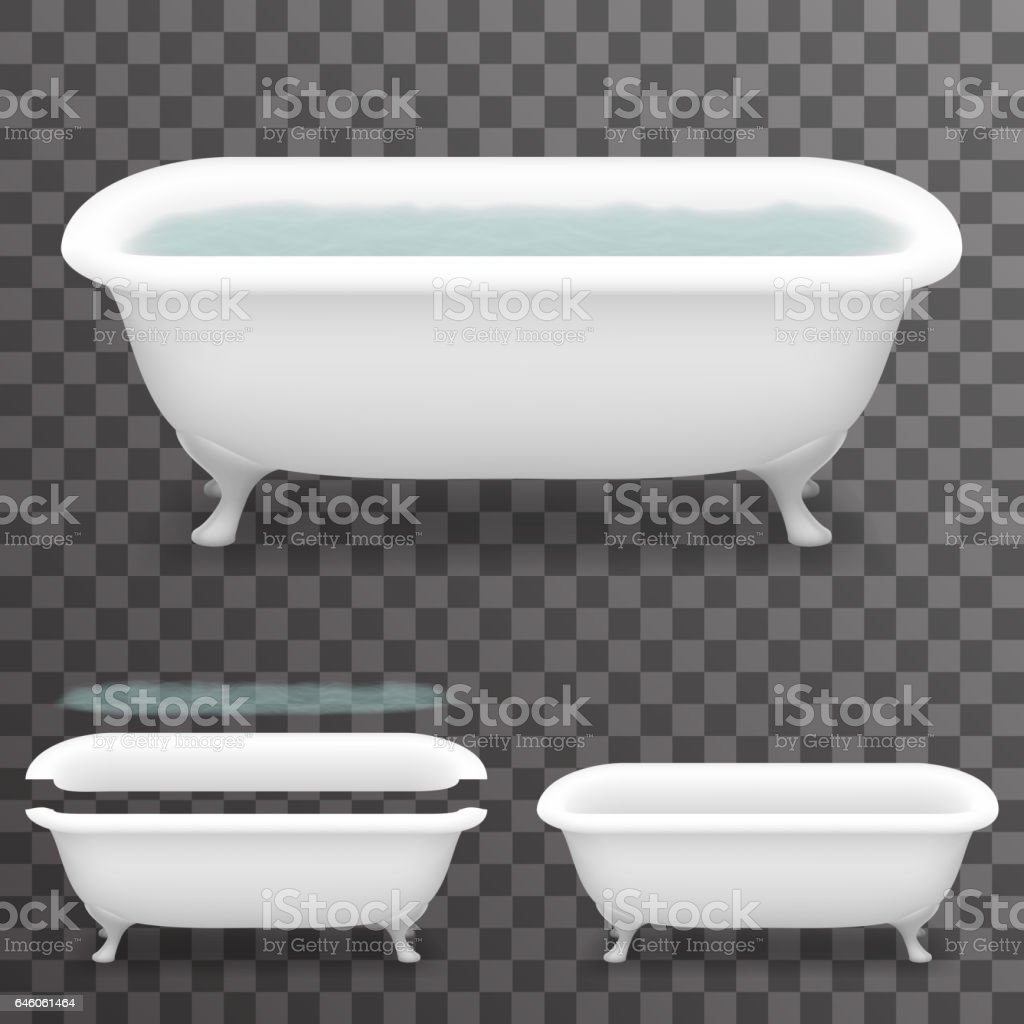 Retro Bath With Water Realistic 3d Parallax Bathtub Transparent ...