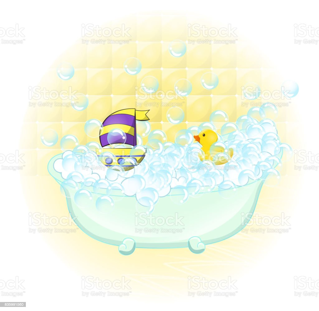 Retro Bathroom Interior Soap Bubbles Bathtub With Foam Bubbles ...