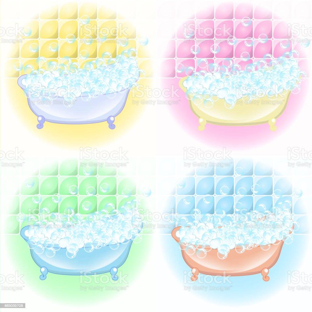 Retro Bathroom Interior Soap Bubbles Bathtub With Foam Bubbles ...