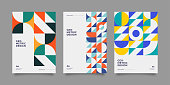 Placard templates set with Geometric shapes, Retro bauhaus swiss style flat and line design elements. Retro art for covers, banners, flyers and posters. Eps 10 vector illustrations