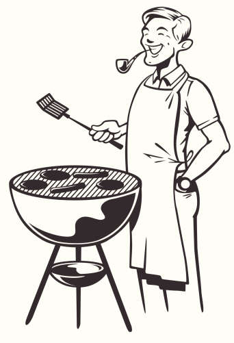 this is a black and white illustration of my interpretation of what some might look like enjoying the weather and preparing a feast. change the selection on the grill - try all burgers, hot dogs or even a human head.