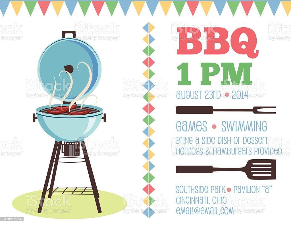 Retro Bbq Invitation Template Stock Vector Art More Images Of - Free bbq invitation template