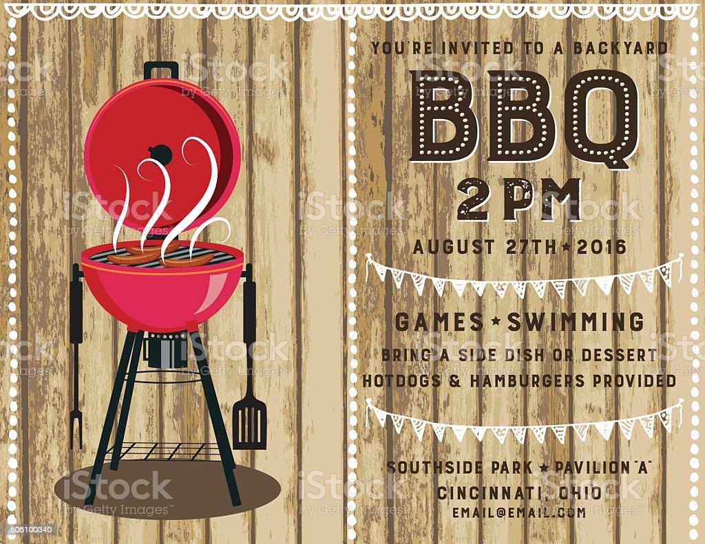 Retro BBQ Invitation Template vector art illustration