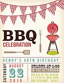 Retro BBQ Invitation Template. There are two rows of checkered ref flag decorations at the top. There is a retro grill and a fork and BBQ spatula.