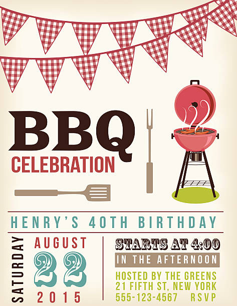 retro bbq invitation template with checkered flags above. - reunion stock illustrations, clip art, cartoons, & icons