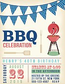 Retro BBQ Invitation Template. There are two rows of checkered blue flag decorations at the top. There is a retro grill and a fork and BBQ spatula.