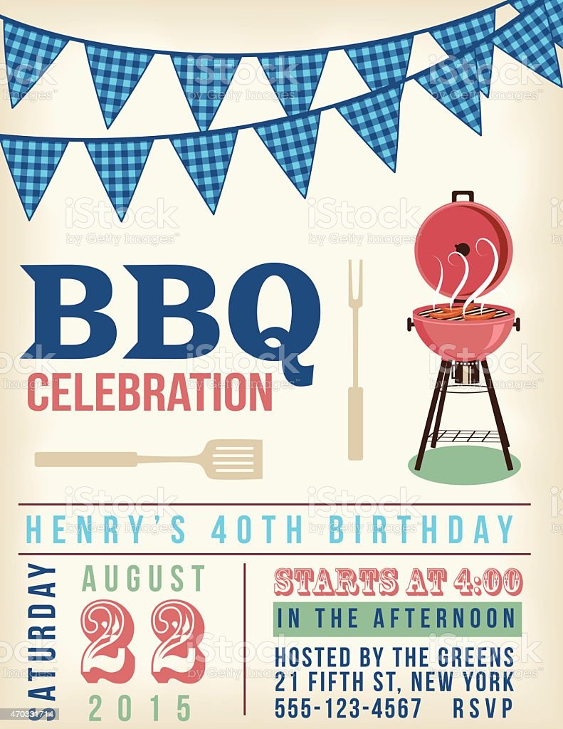 Retro BBQ Invitation Template With Checkered Flags vector art illustration