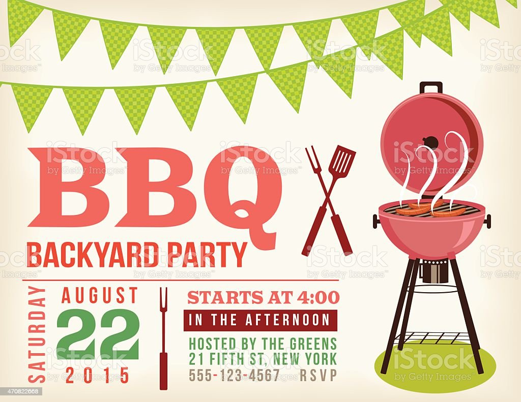 retro bbq invitation template with checkered flags stock